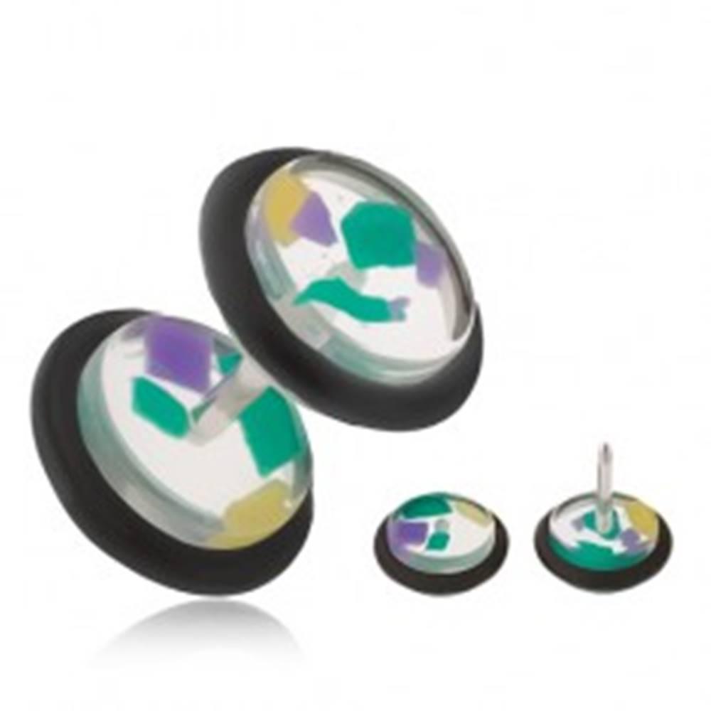 Šperky eshop Falošný piercing do ucha, číre akrylové kolieska, farebné úlomky
