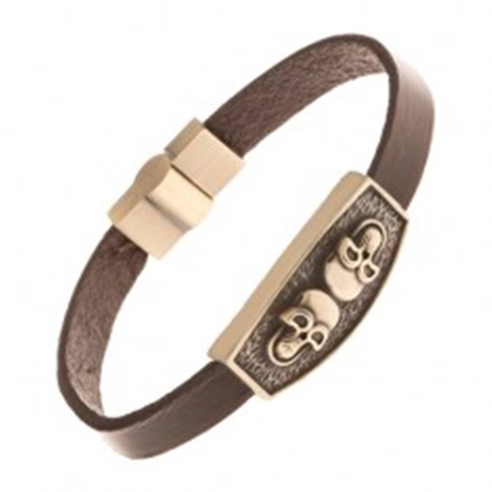 Šperky eshop Hnedý kožený náramok, známka mosadznej farby - dve lebky, čierna patina