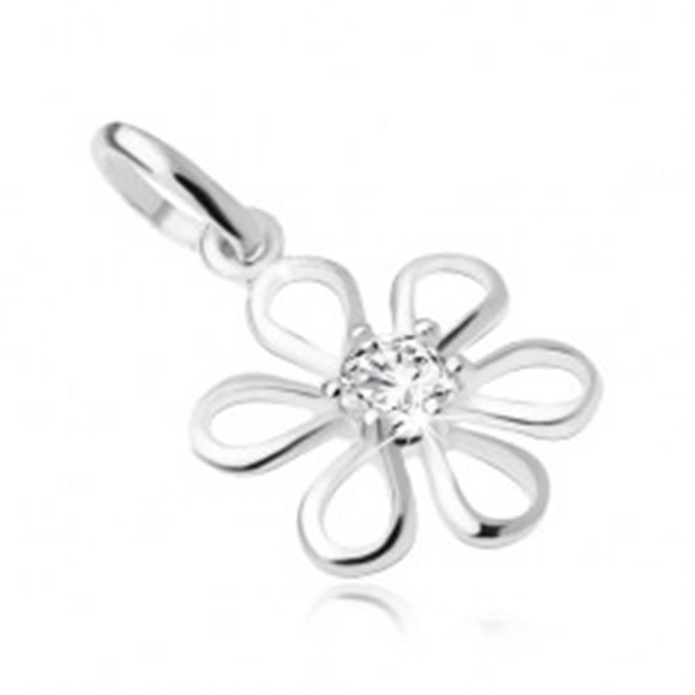Šperky eshop Kvet s čírym okrúhlym zirkónom uprostred, prívesok zo striebra 925