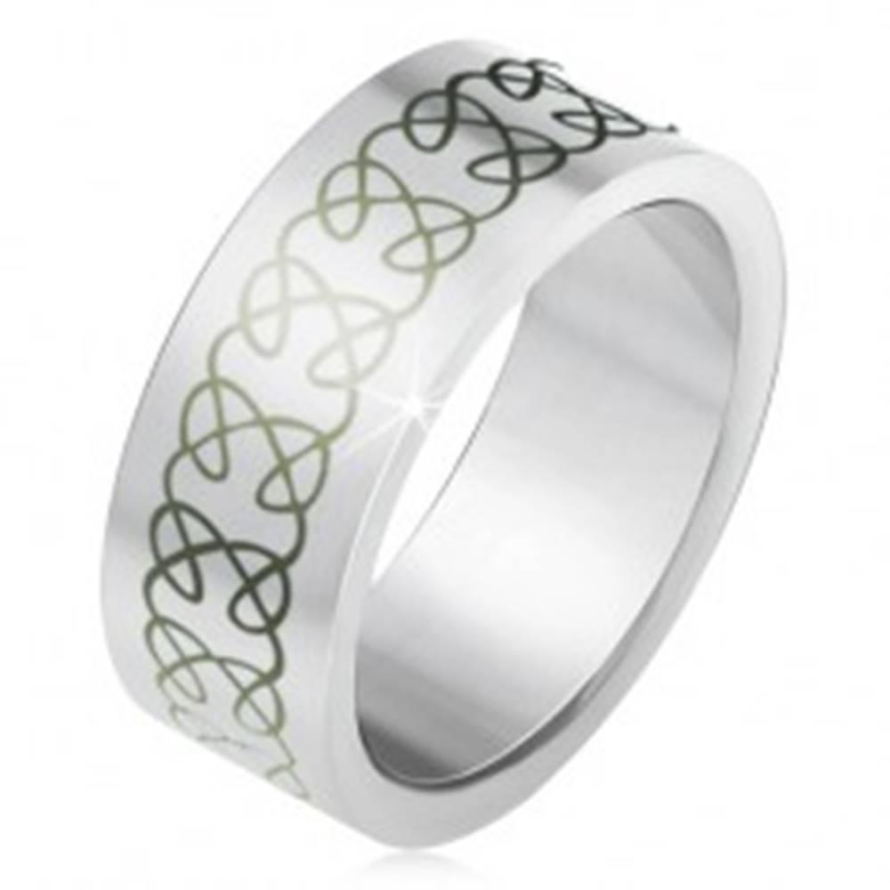 Šperky eshop Matná oceľová obrúčka, ornament z prelínajúcich sa zatočených línií - Veľkosť: 55 mm