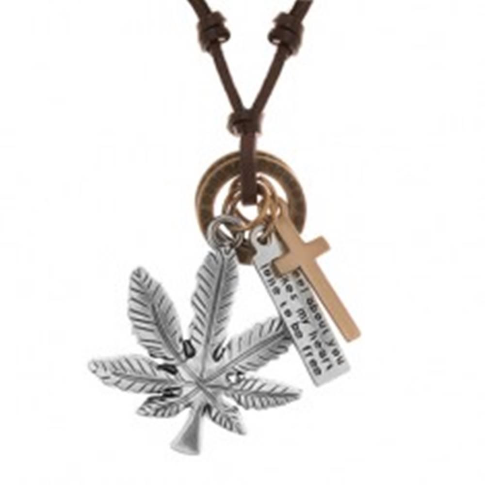 Šperky eshop Náhrdelník - šnúrka z umelej kože s príveskami, list konope, kríž, známka a obruče