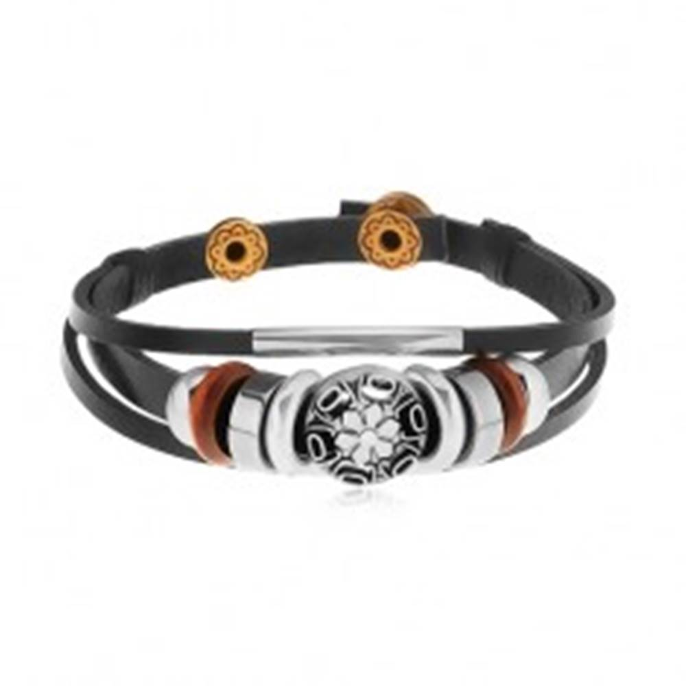 Šperky eshop Náramok z čiernych kožených pásov s korálkami z kovu a dreva, kruh s kvetom