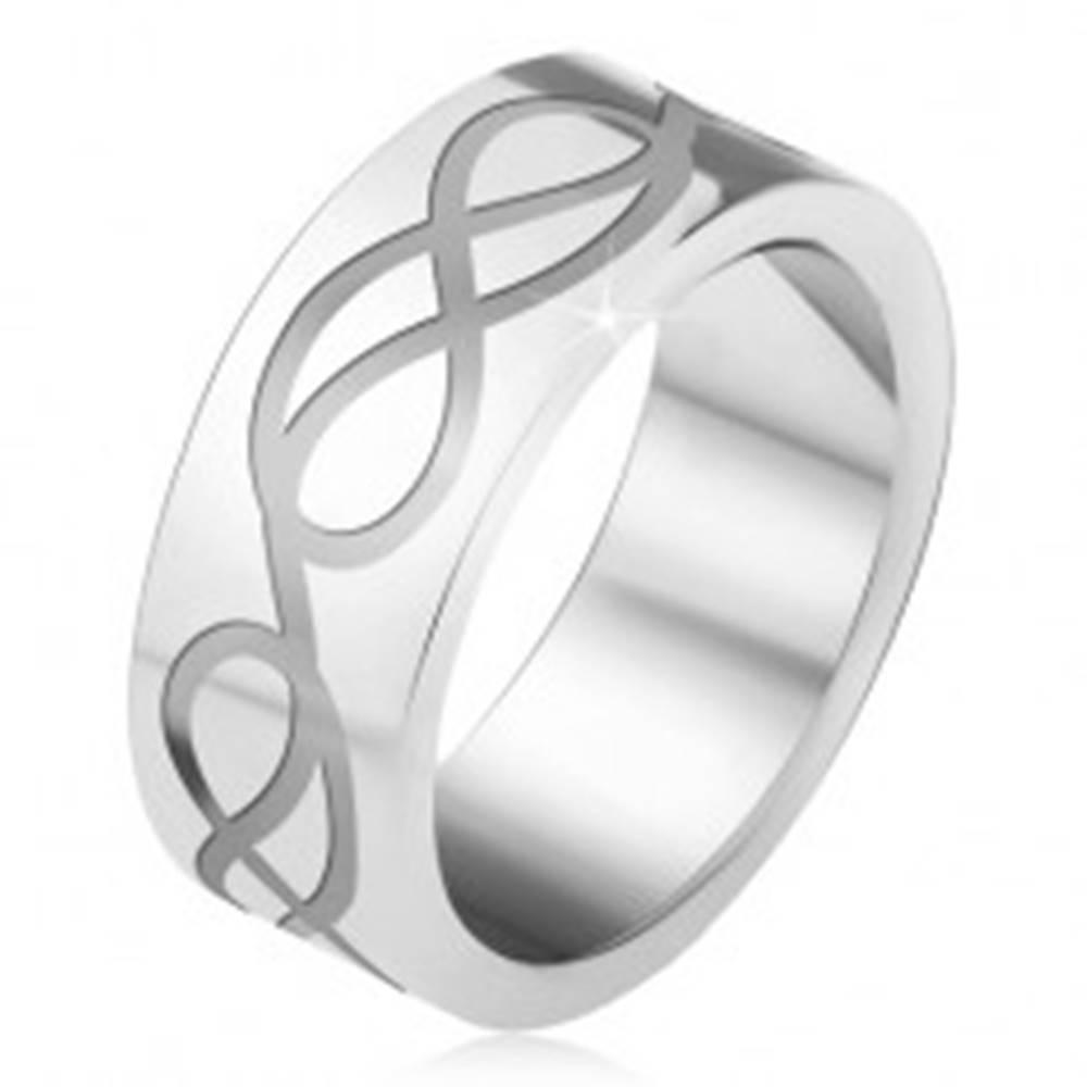 Šperky eshop Oceľová obrúčka, gravírovaný motív slučiek - Veľkosť: 55 mm