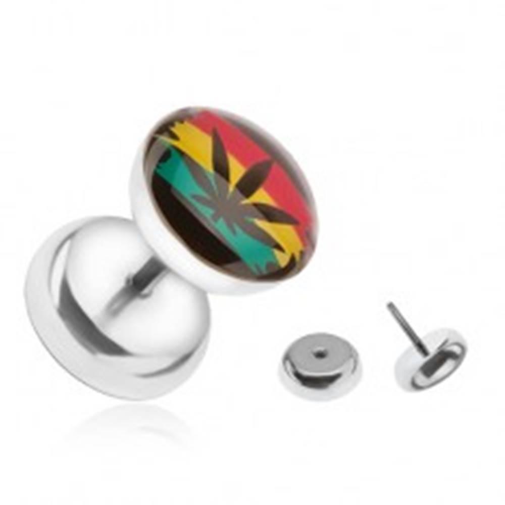 Šperky eshop Oceľový falošný plug do ucha, farby Jamajky, marihuana