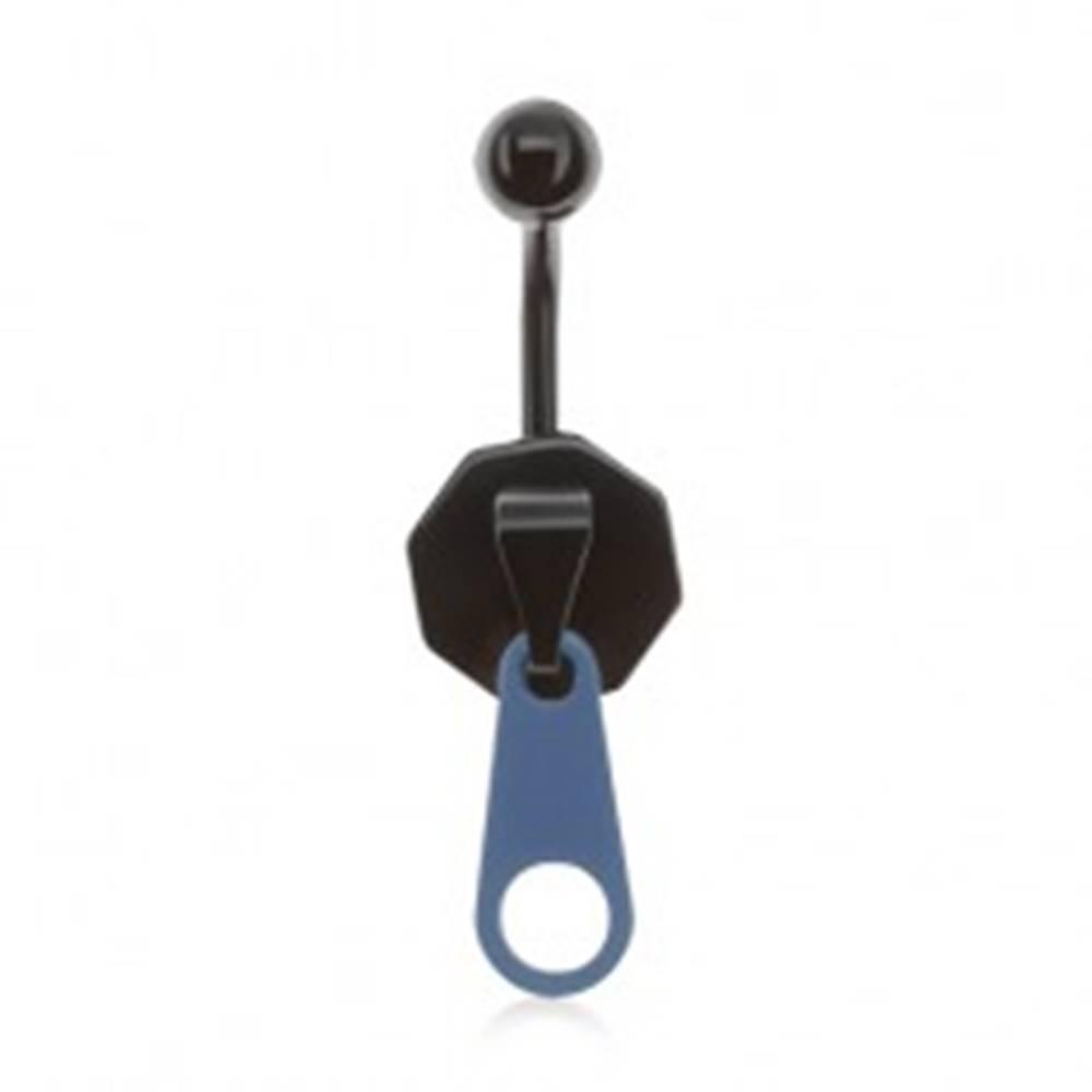 Šperky eshop Oceľový piercing do pupka, čierno-modrý zips