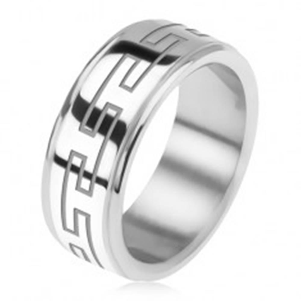 Šperky eshop Oceľový prsteň, zrkadlovo lesklý, znížené okraje, grécky kľúč - Veľkosť: 56 mm