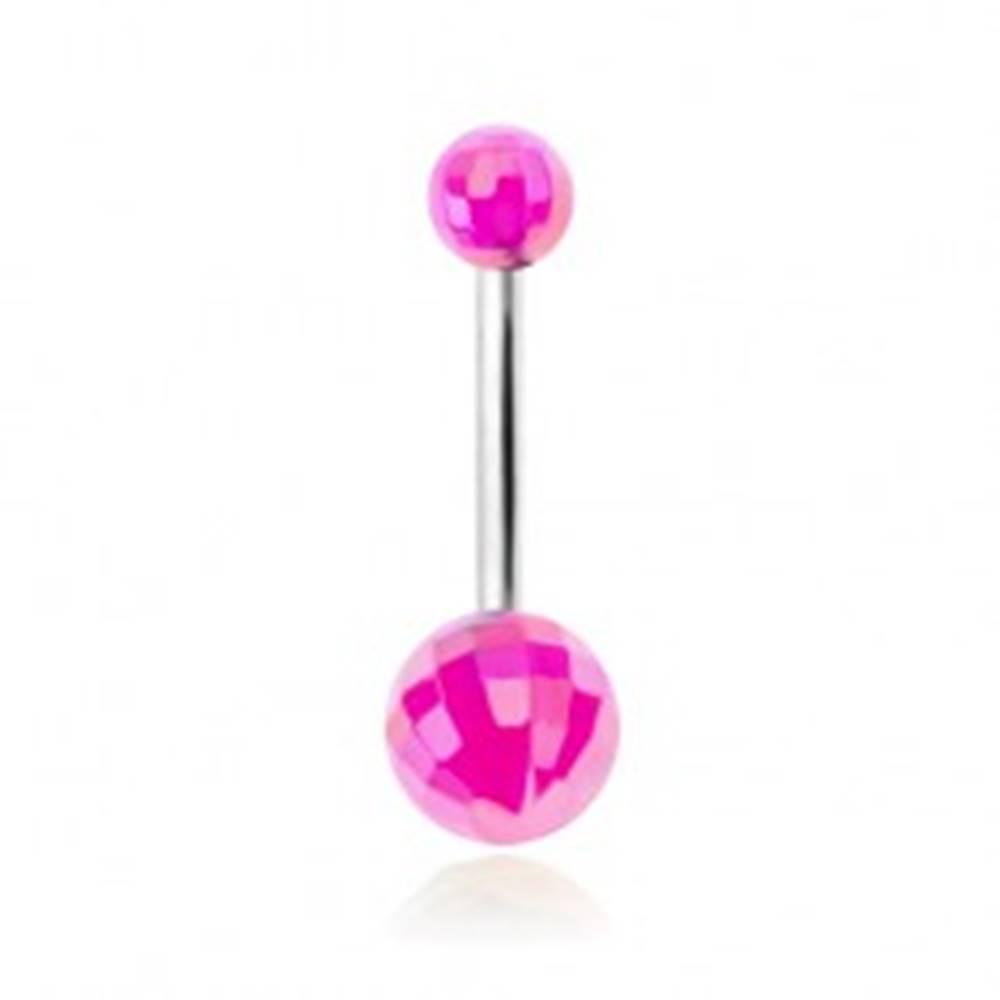 Šperky eshop Piercing do bruška, akrylové disko gule fialovej farby