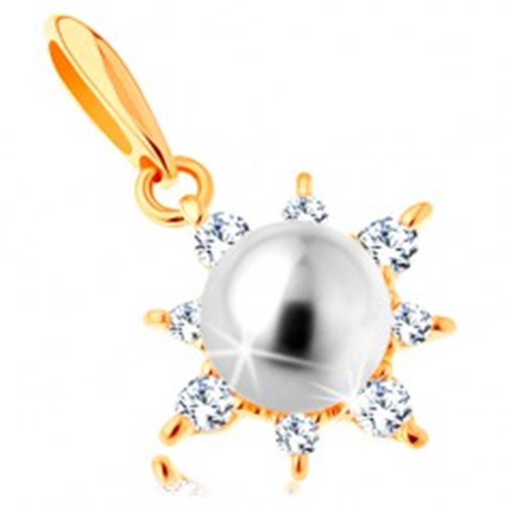 Šperky eshop Prívesok zo žltého 14K zlata - ligotavé slnko, guľatá perla bielej farby