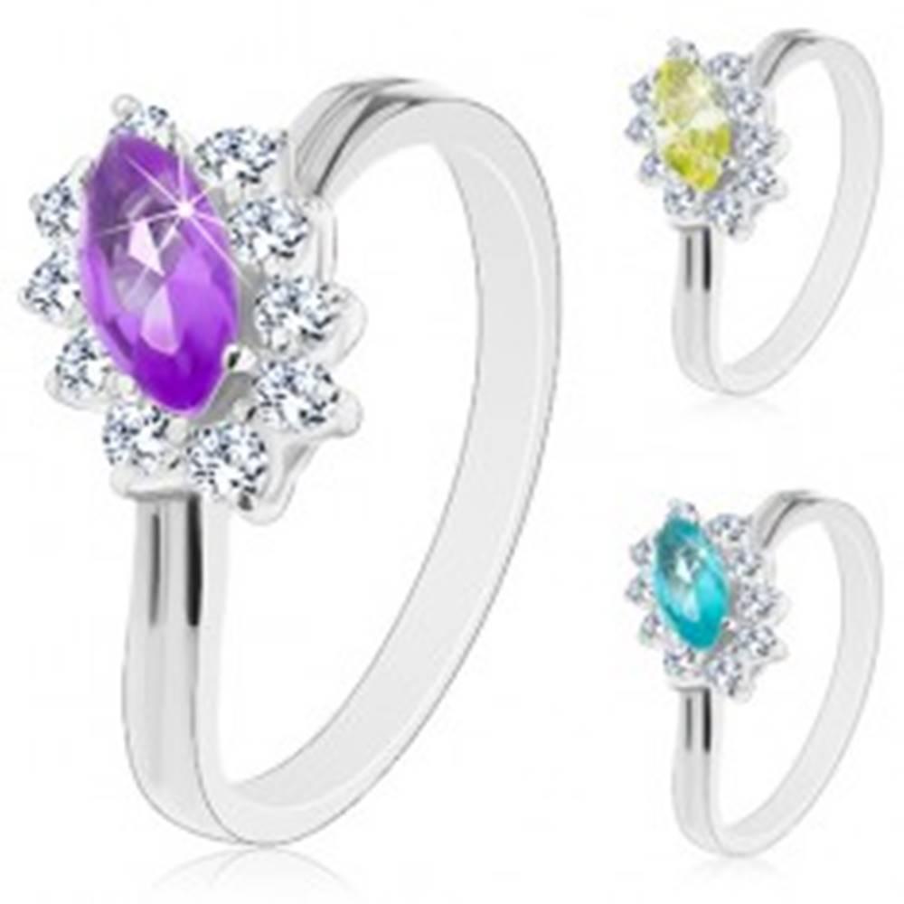 Šperky eshop Prsteň s lesklými ramenami, farebné zrnko s čírou zirkónovou obrubou - Veľkosť: 50 mm, Farba: Fialová