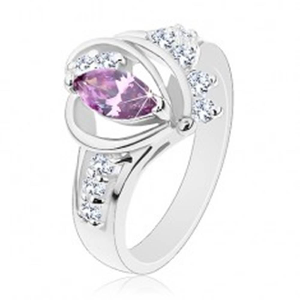 Šperky eshop Prsteň v striebornom odtieni, fialový zirkón, hladké oblúky, číre zirkóny - Veľkosť: 49 mm