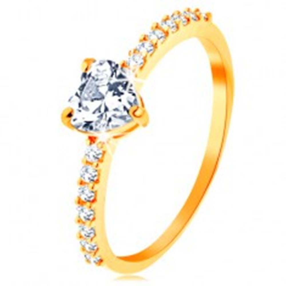 Šperky eshop Prsteň v žltom 14K zlate - brúsené zirkónové srdiečko čírej farby - Veľkosť: 49 mm