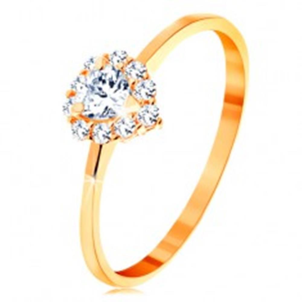 Šperky eshop Prsteň v žltom 14K zlate - číre zirkónové srdiečko s trblietavým okrajom - Veľkosť: 49 mm