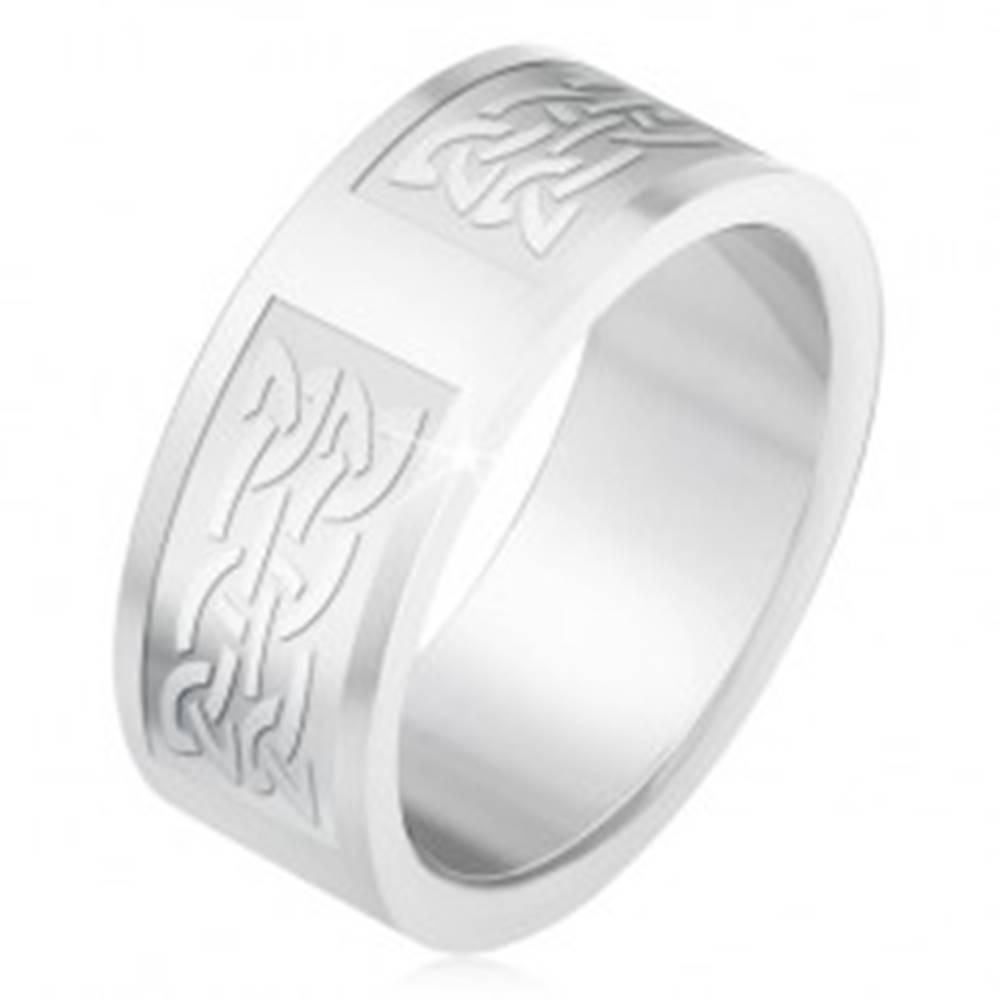 Šperky eshop Prsteň z ocele 316L, gravírované pruhy s keltským uzlovým vzorom - Veľkosť: 55 mm