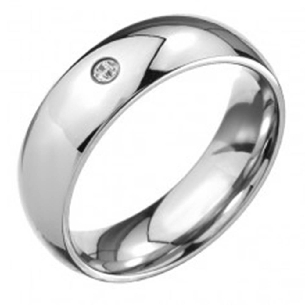 Šperky eshop Prsteň z ocele 316L, lesklý oblý povrch, číry brúsený kamienok - Veľkosť: 49 mm