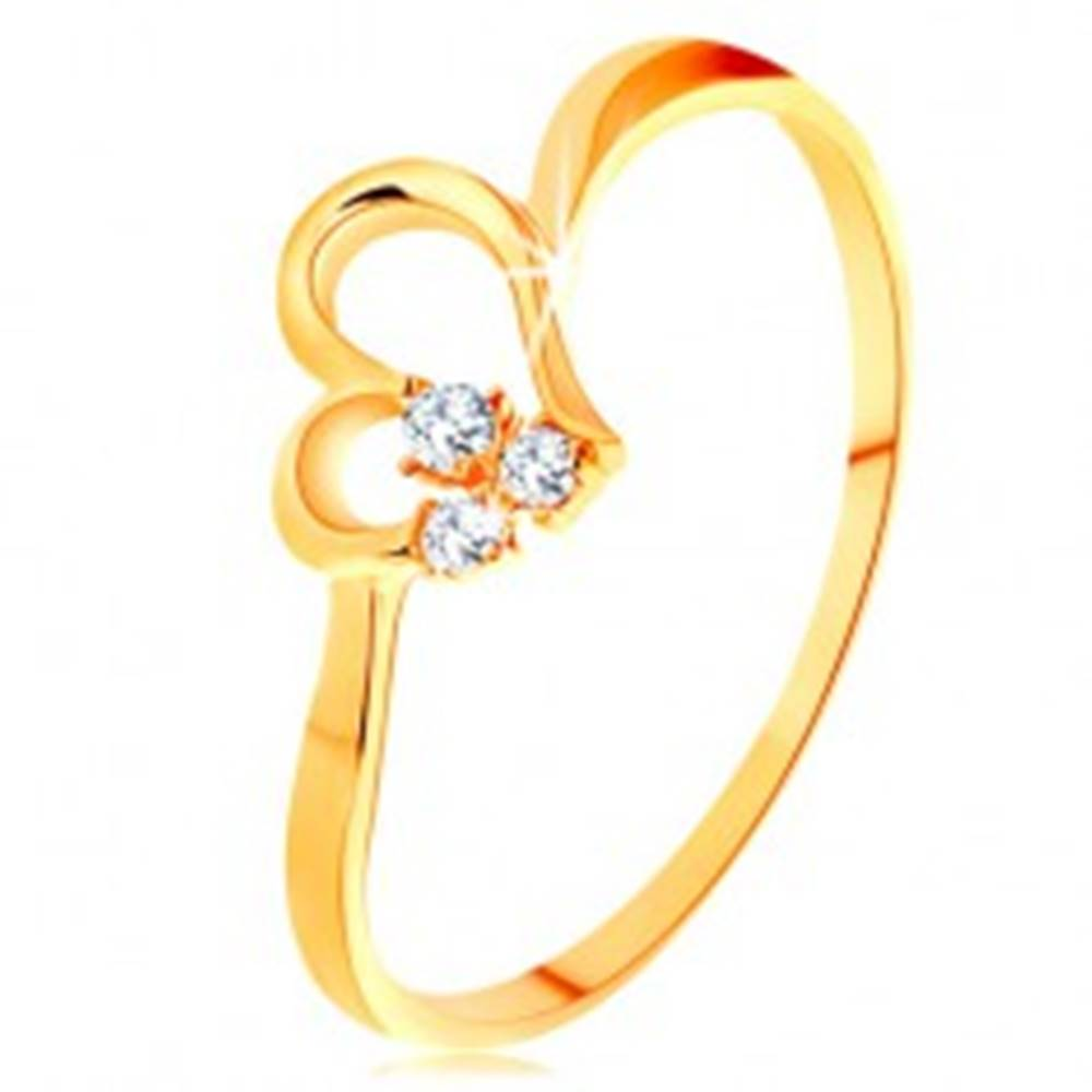 Šperky eshop Prsteň zo žltého 14K zlata - kontúra nesúmerného srdiečka, číre zirkóny - Veľkosť: 49 mm