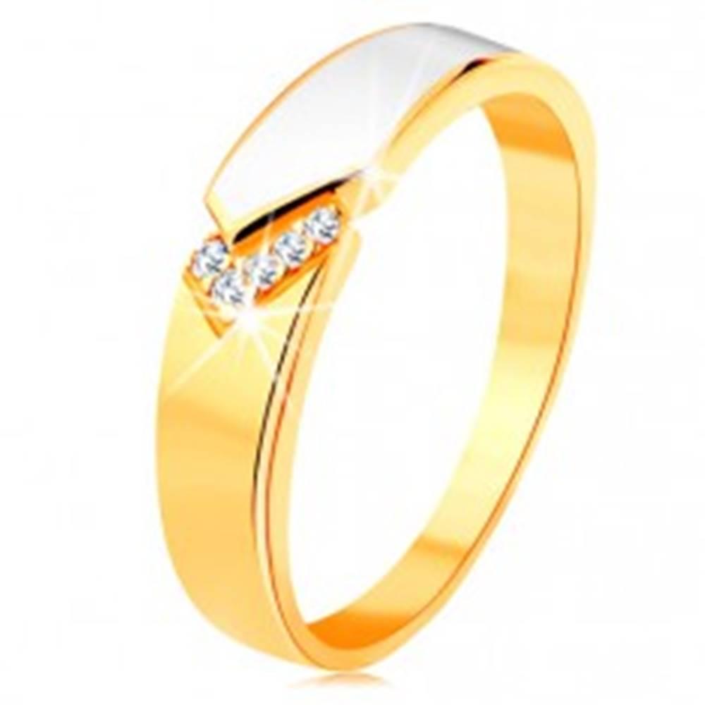 Šperky eshop Prsteň zo žltého 14K zlata - lesklý pás bielej glazúry, číre zirkóniky - Veľkosť: 49 mm