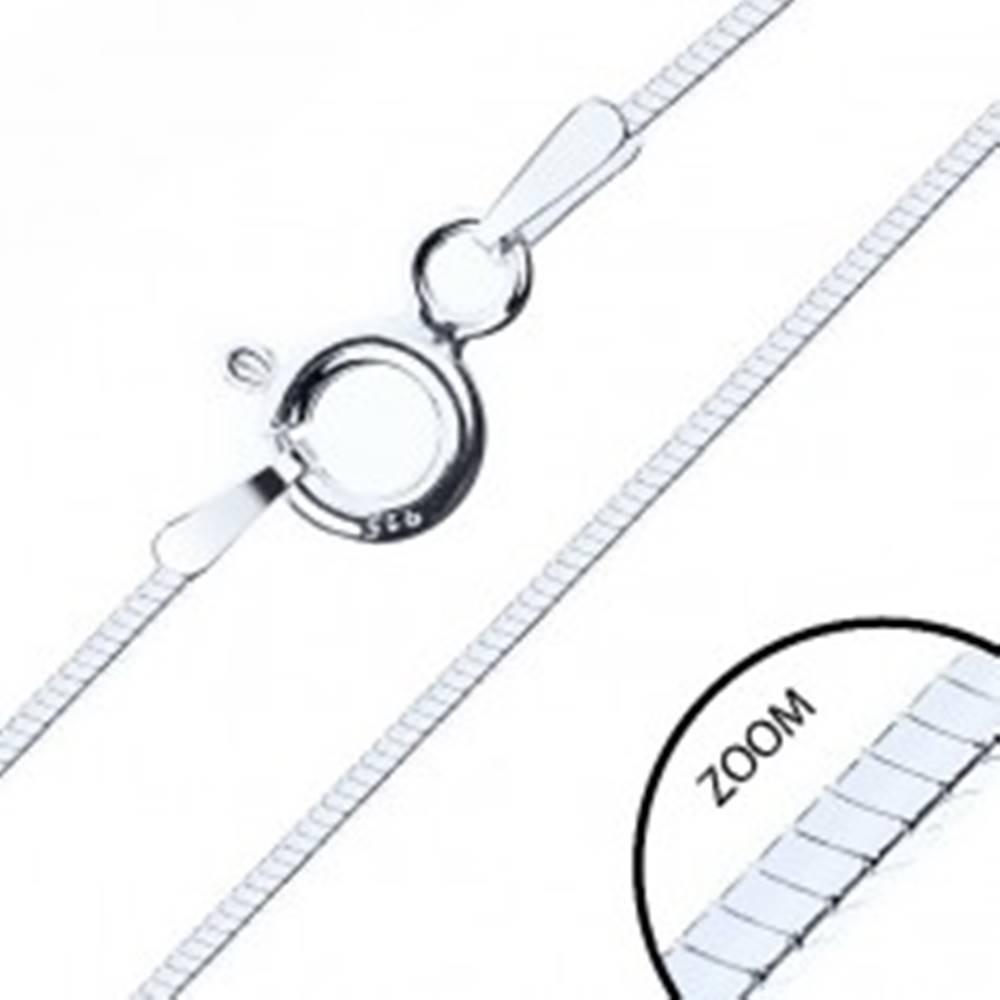 Šperky eshop Strieborná 925 retiazka,  lesklý štvohranný hadík, 1 mm