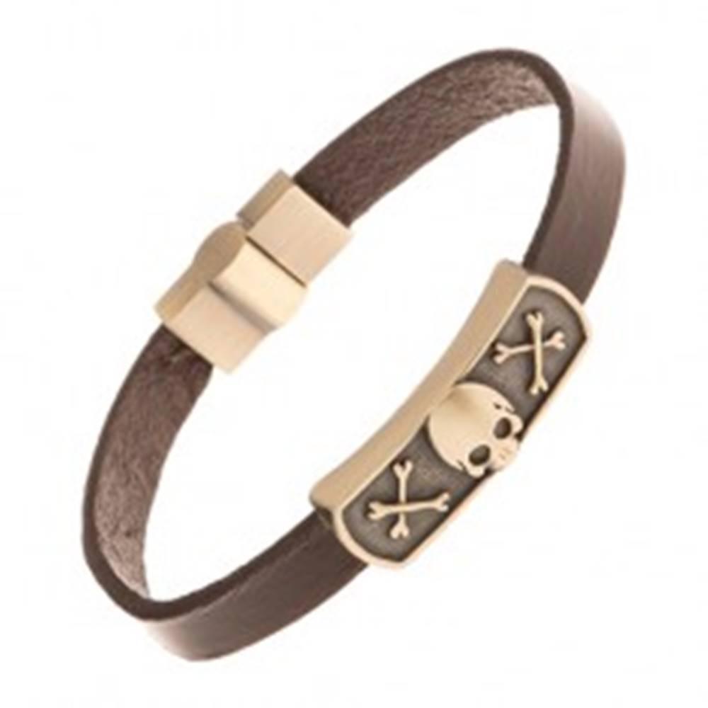 Šperky eshop Tmavohnedý kožený náramok, známka mosadznej farby - lebka a kosti