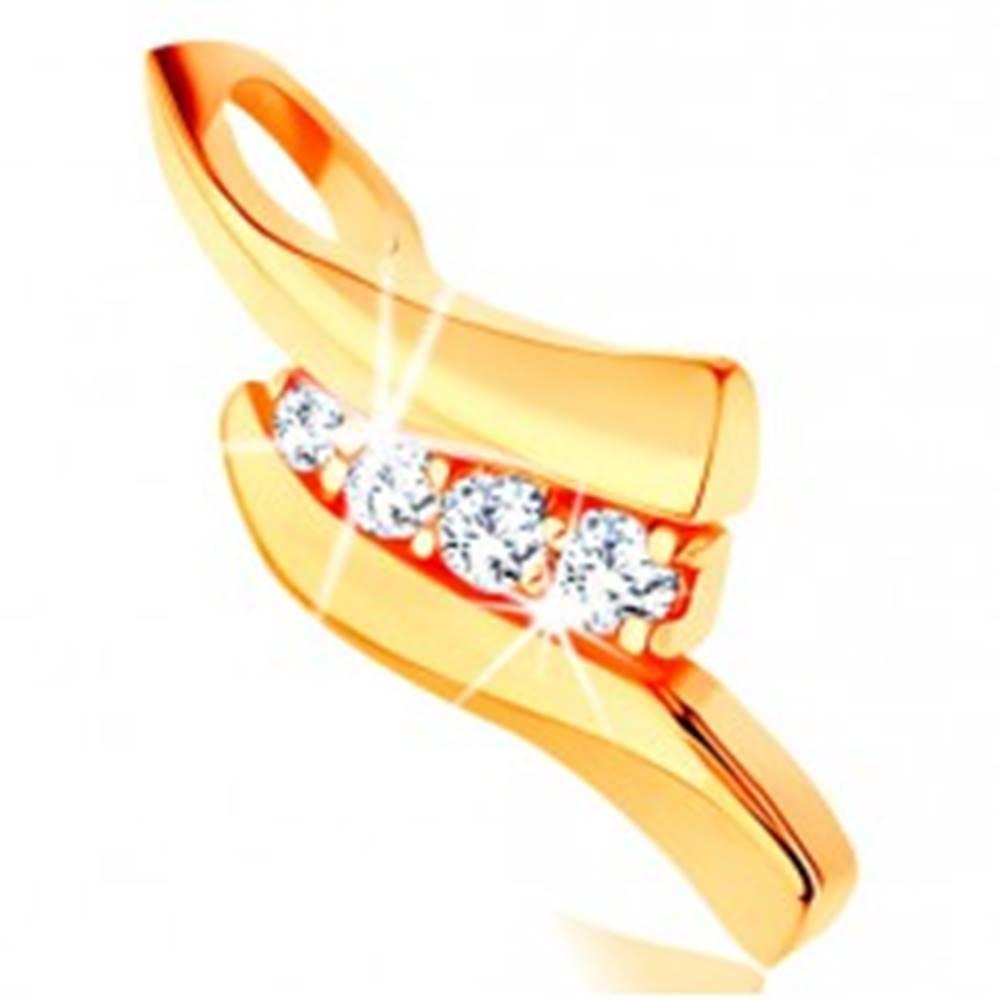 Šperky eshop Zlatý prívesok 585 - dve lesklé vlnky, línia čírych zirkónikov uprostred