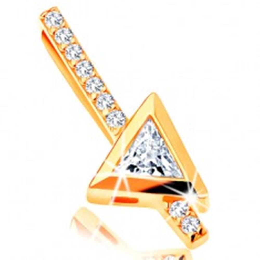 Šperky eshop Zlatý prívesok 585 - rovná zirkónová palička, číry trojuholníkový zirkón