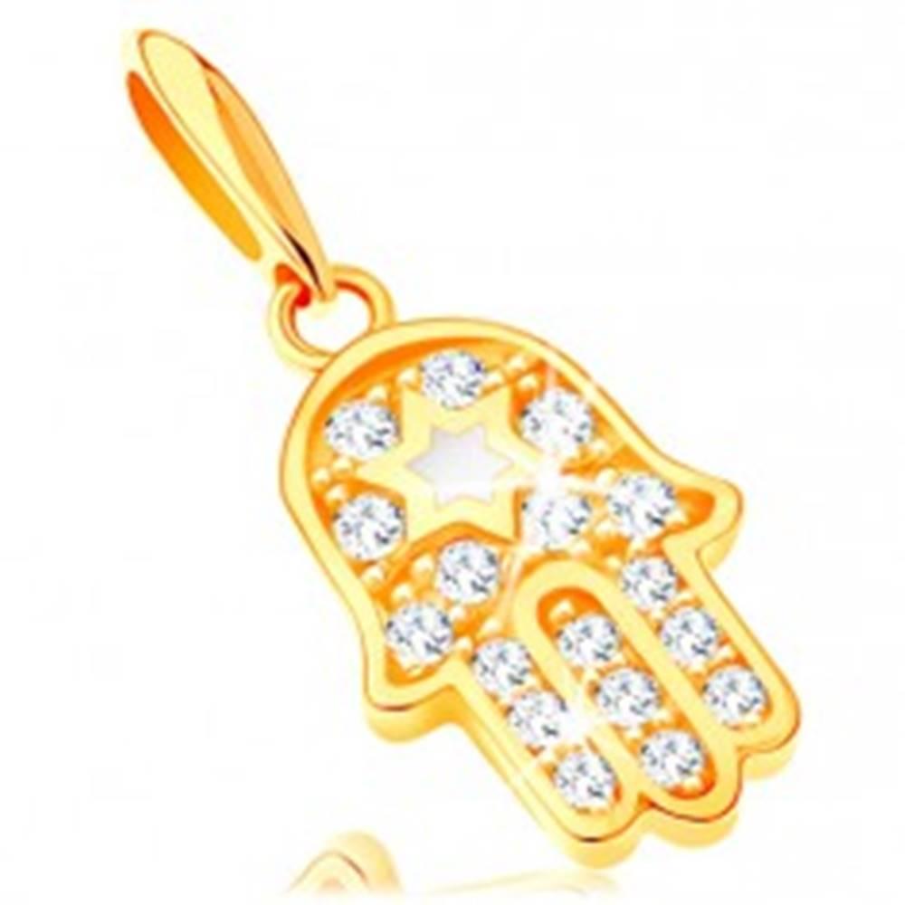 Šperky eshop Zlatý prívesok 585 - symbol Hamsa s čírymi zirkónmi a bielou hviezdou