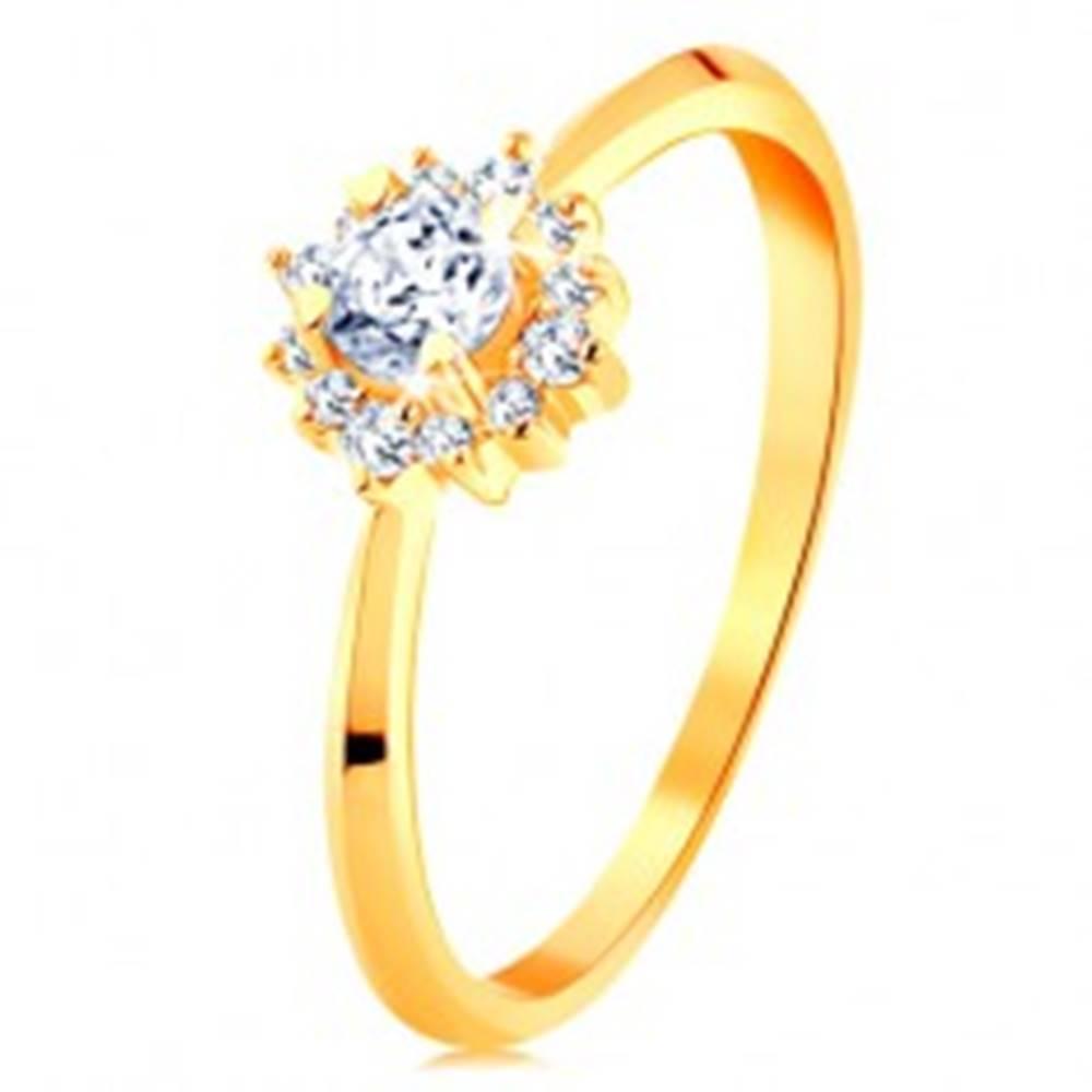 Šperky eshop Zlatý prsteň 585 - ligotavý kvietok z čírych zirkónov, tenké lesklé ramená - Veľkosť: 49 mm