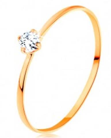 Prsteň zo žltého 14K zlata - tenké ramená, okrúhly zirkón čírej farby - Veľkosť: 49 mm