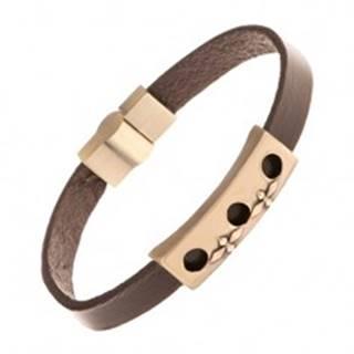 Hnedý kožený náramok so známkou mosadznej farby - okrúhle výrezy, kríže