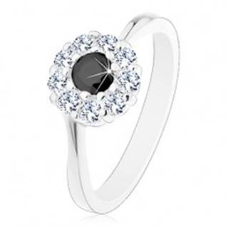 Lesklý prsteň v striebornom odtieni, zirkónový kvietok s čiernym stredom - Veľkosť: 51 mm