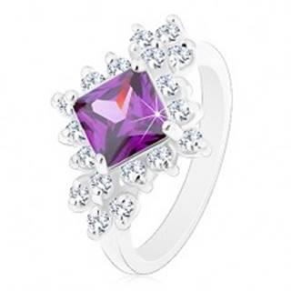 Ligotavý prsteň, fialový štvorec lemovaný okrúhlymi čírymi zirkónmi - Veľkosť: 48 mm