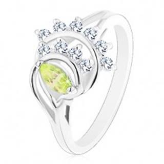 Ligotavý prsteň, oblúky lemované líniami čírych zirkónikov, svetlozelené zrnko - Veľkosť: 52 mm