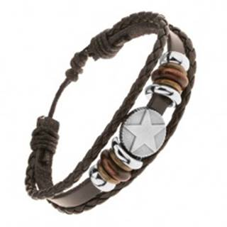 Multináramok z kože a šnúrok, korálky z ocele a dreva, kruh s hviezdou
