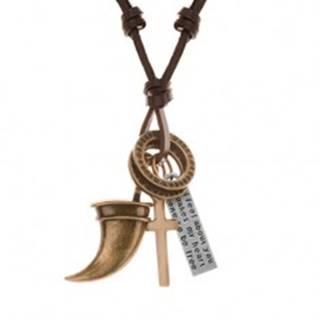 Náhrdelník - šnúrka z umelej kože s príveskami, zvierací zub, kríž, známka a obruče