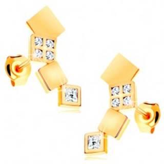 Náušnice v žltom 14K zlate - ligotavé štvorčeky tvoriace oblúk, puzetky