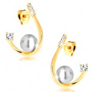 Náušnice v žltom 14K zlate - oblá zahnutá línia, biela perla a zirkóny