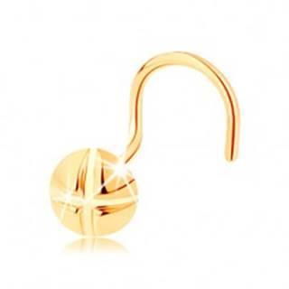 Piercing do nosa v žltom 14K zlate, zahnutý - okrúhla skrutka so zárezmi