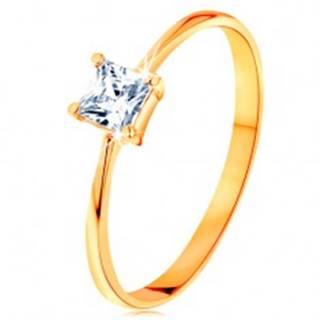 Prsteň v žltom 14K zlate - vystupujúci zirkónový štvorec, hladké úzke ramená - Veľkosť: 49 mm