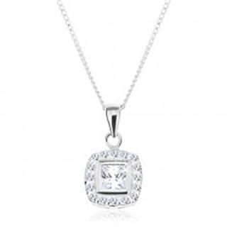 Strieborný náhrdelník 925, prívesok na retiazke, číry zirkónový štvorec s lemom