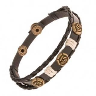 Tmavohnedý náramok z troch pásov umelej kože, patinované ruže, šnúrky