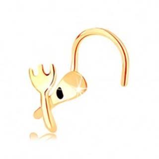 Zahnutý piercing do nosa zo žltého 14K zlata - vidlička a lyžička