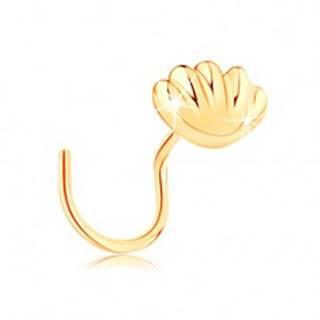 Zahnutý zlatý piercing do nosa 585 - lesklá morská mušľa