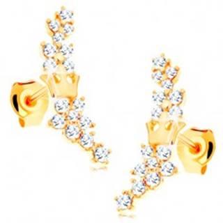 Zlaté náušnice 585 - kvietky zo žiarivých čírych zirkónikov a malá korunka