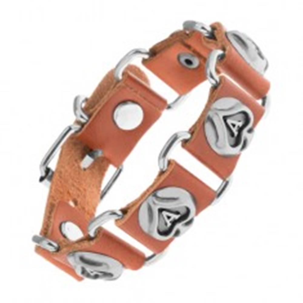 Šperky eshop Hnedý náramok z umelej kože a ocele, kartové symboly - pikové esá