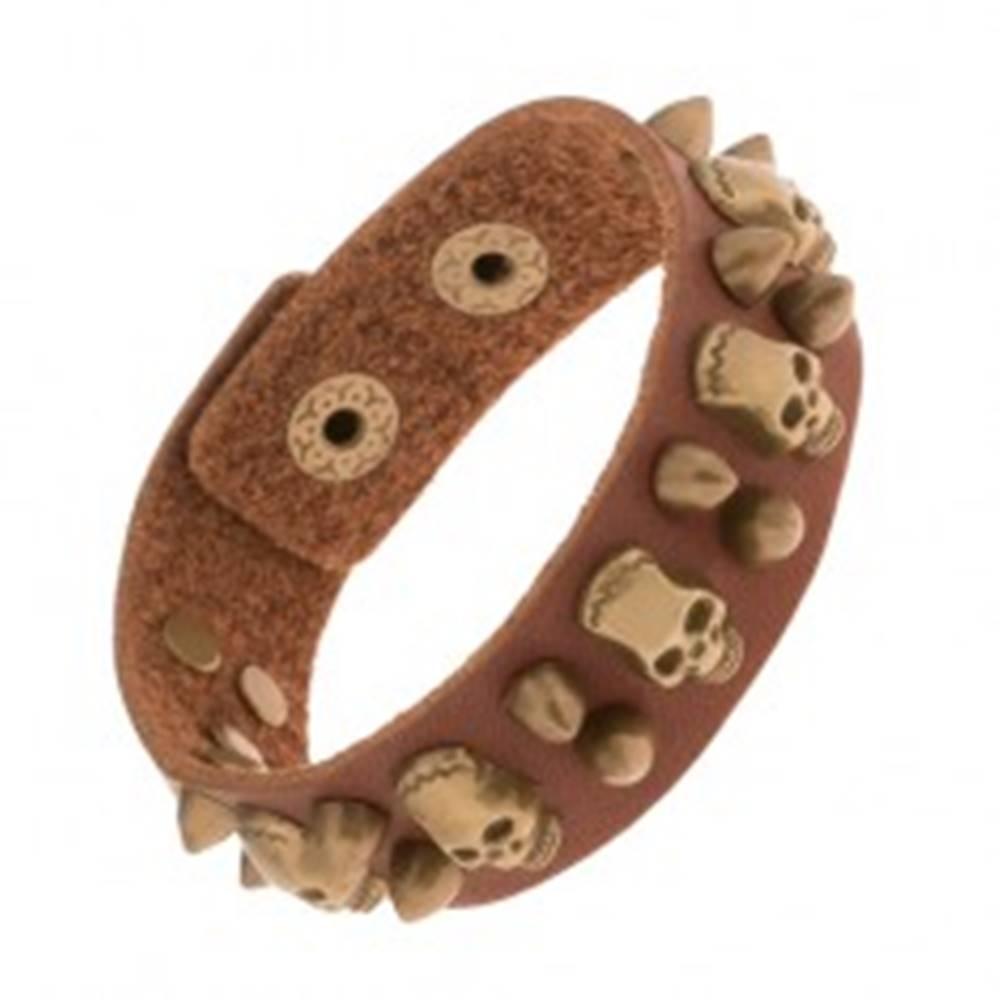 Šperky eshop Hnedý náramok zo syntetickej kože, patinované lebky, vybíjané ostne