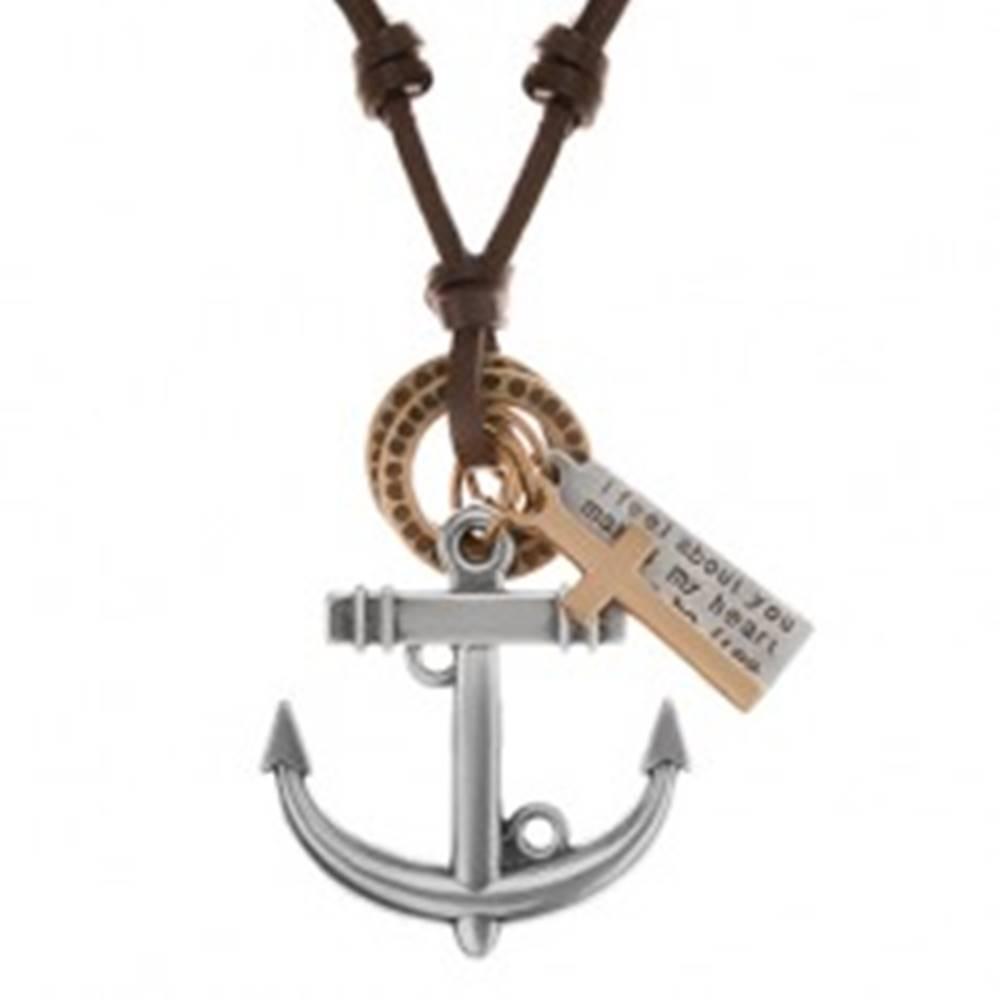 Šperky eshop Kožený náhrdelník hnedej farby, prívesky - kotva, kríž, známka a obruče