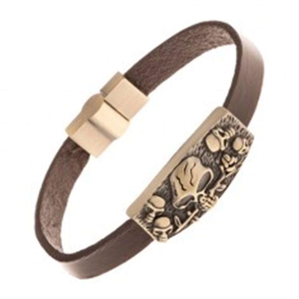 Šperky eshop Kožený tmavohnedý náramok, známka mosadznej farby - lebky, ruža