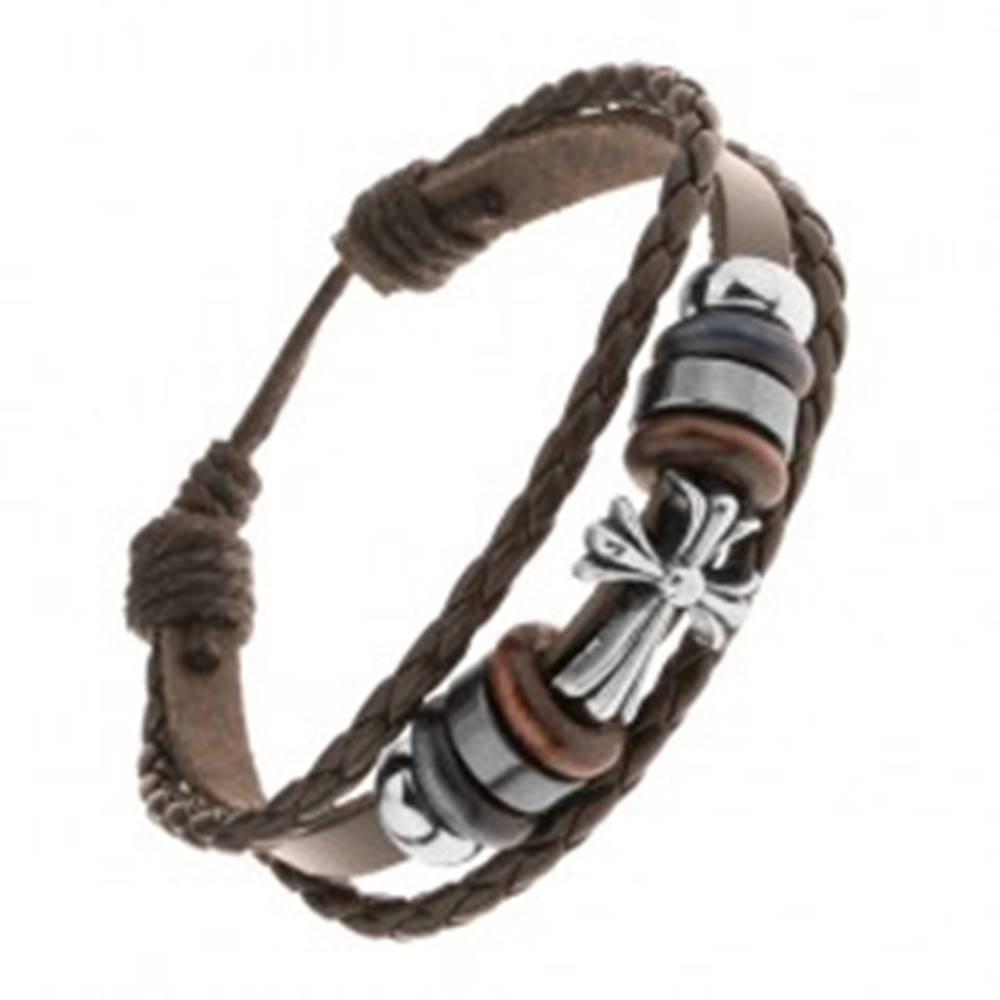 Šperky eshop Multináramok z kože a motúzikov, korálky z ocele a dreva, ľaliový kríž