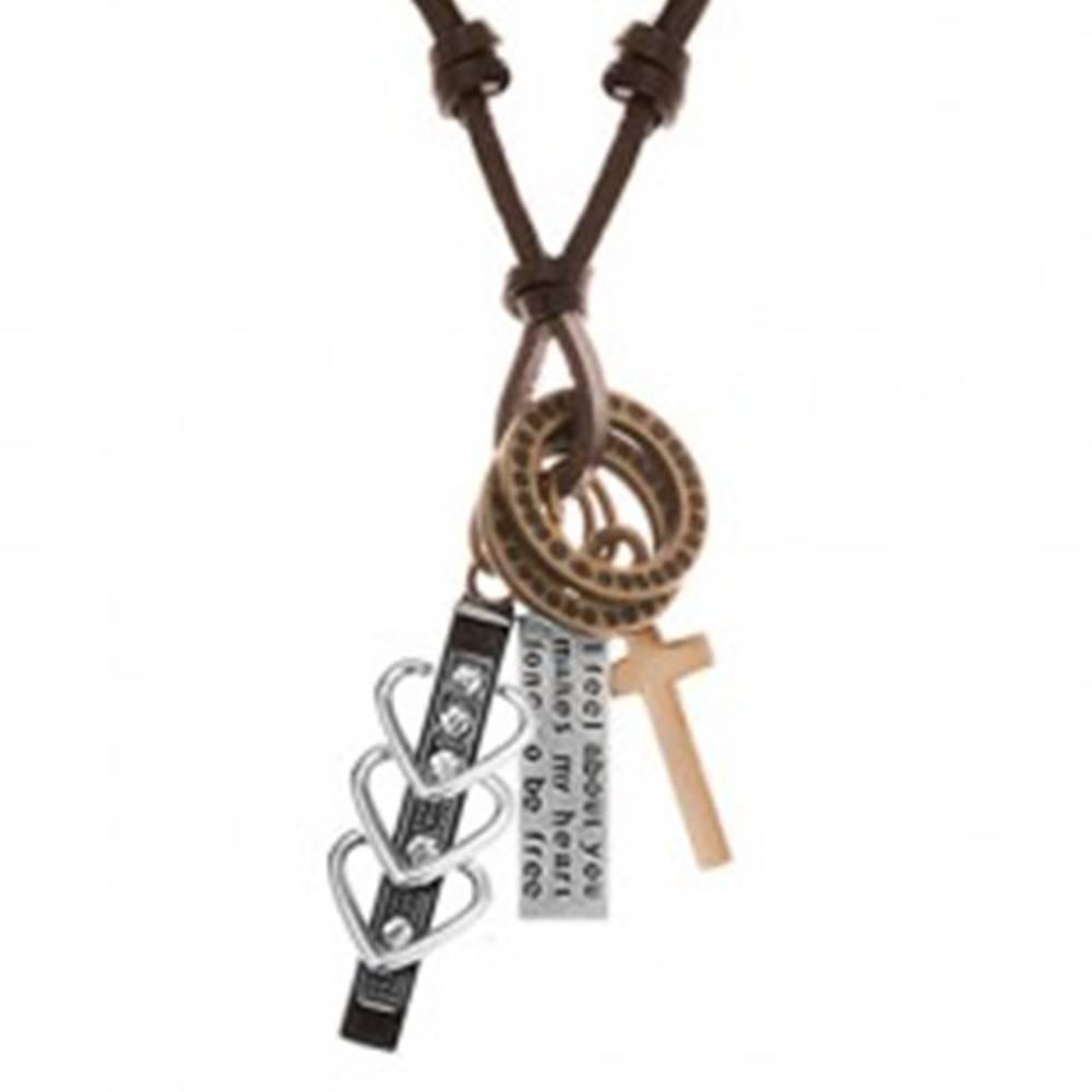 Šperky eshop Náhrdelník s príveskami - čierny pás so srdiečkami a zirkónmi, kríž, známka, obruče