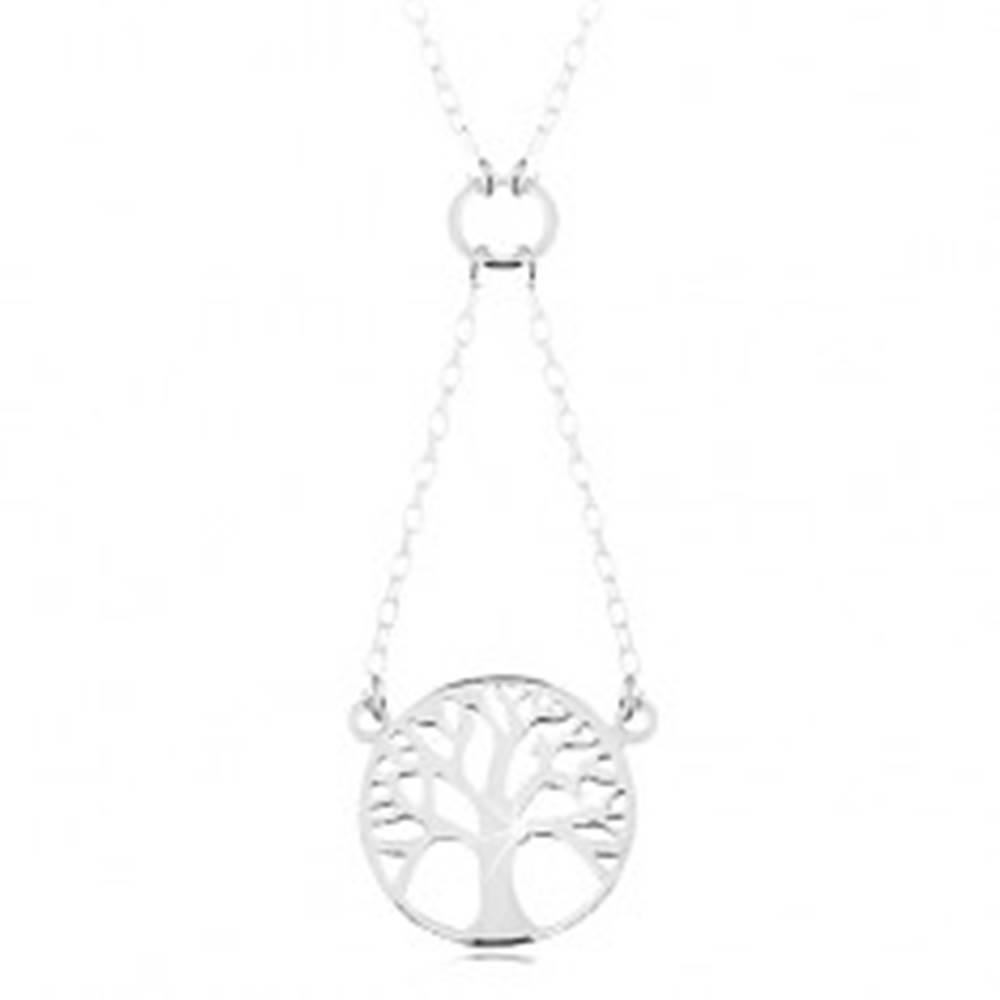 Šperky eshop Náhrdelník zo striebra 925, retiazka a prívesok - lesklý strom života v kruhu