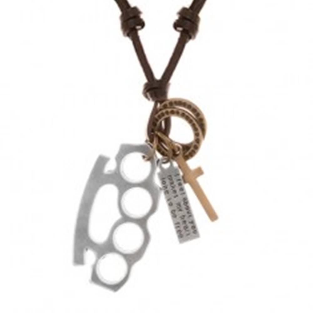 Šperky eshop Náhrdelník zo syntetickej kože s príveskami - boxer, kríž, známka a obruče